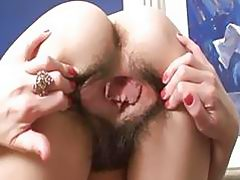 Mature slut shows her hairy cunt and begs for cock