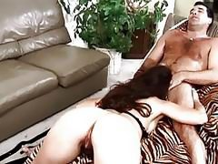 Sexy ass brunette milf gives blowjob on her knees